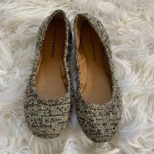 Lucky Brand Emmie Ballet Flats Brown Tweed 8